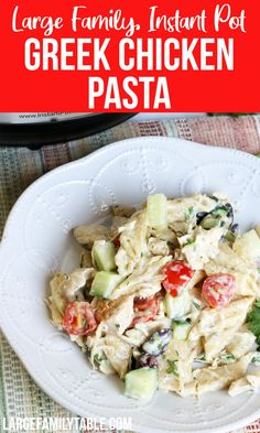 Instant Pot Greek Chicken Pasta Greek Chicken, Chicken Pasta, Real Cooking, Large Family Meals, Pasta Dinners, Instant Pot Dinner Recipes, Everyday Food, Dinner Ideas, Main Dishes