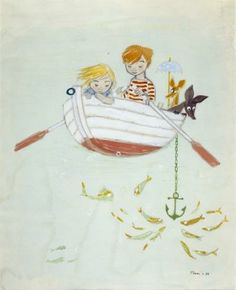 Tove Jansson, Lapset ja Nipsu soutelemassa, akvarelli 1956, Helsingin kaupungin Taidemuseo