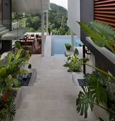 """Open air lounge by the infinity pool overlooking the tropical forest outside Kuala Lumpur, Malaysia, featured in the film """"Crazy Rich : RoomPorn Dream Home Design, Modern House Design, Home Interior Design, Exterior Design, Interior Ideas, Green Architecture, Architecture Design, Pavilion Architecture, Sustainable Architecture"""