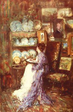 Portrait of a woman in the corner of the studio - Nicolae Grigorescu - Canvas Artwork Canvas Artwork, Canvas Prints, Human Pictures, Pierre Auguste Renoir, Sculptures, Landscape, Studio, Portrait, Drawings
