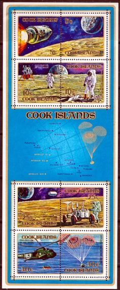 Cook Islands 1972 Moon Landing Miniature Sheet Fine Mint SG 391 Scott 322c Other Commonwealth stamp sheets here