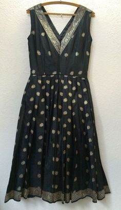 Vintage 1950's Cocktail Party Dress Made From Indian Sari Rockabilly