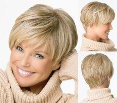 Medusa produits capillaires : belle garçon couper court pixie perruques pour femmes de style droite synthétique perruque Blonde avec une frange SW0081(China (Mainland))