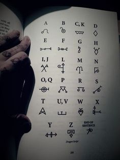 witchessoul: Dragon script alphabet is one of the ways you can communicate with dragons. Its also a great tool to use with enchanting objects with draconic energy I was reading a fantastic book. Code Alphabet, Script Alphabet, Alphabet Symbols, Sign Language Alphabet, Ancient Alphabets, Ancient Symbols, Magic Symbols, Symbols And Meanings, Alfabeto Viking