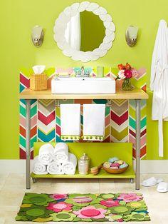 Learn how to construct a sink vanity from a desktop and two adjustable-height desk legs here: http://www.bhg.com/bathroom/vanities/diy-bathroom-vanity-ideas/?socsrc=bhgpin080915deskvanity&page=10