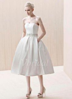 Wedding Dresses - $126.99 - A-Line/Princess Strapless Tea-Length Satin Wedding Dress With Beading (00205001799)