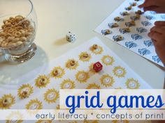 quick & easy grid games: concepts of print -- help kids learn the left to right return sweep! #weteach