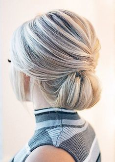 30 Top Wedding Updos For Medium Hair ❤ wedding updos for medium hair elegant low classic chignon on white hair hairandmakeupbysteph Updos For Medium Length Hair, Up Dos For Medium Hair, Medium Hair Styles, Curly Hair Styles, Loose Hairstyles, Bride Hairstyles, Updo Hairstyle, Hairstyle Ideas, Hair Ideas