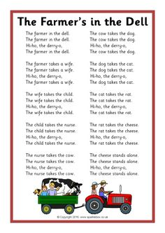 The Farmer's in the Dell Song Sheet - SparkleBox Rhyming Preschool, Preschool Classroom, Nursery Rhymes Preschool, Preschool Farm, Learning Phonics, Free Preschool, Preschool Worksheets, Farm Songs, Farm Animal Songs