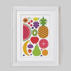 Summer Fruits Cross Stitch Pattern Digital Format por Stitchrovia
