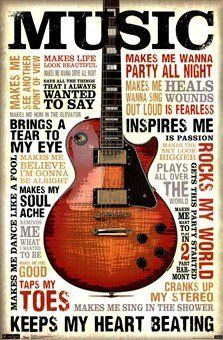 Music Inspires Me Motivational Poster Prints click image to purchase! guitar, quotes typography