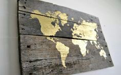World map rustic wooden sign made from reclaimed pallet wood gold world map pallet wood sign by theheartsandcrafts on etsy gumiabroncs Choice Image