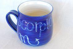 Mug SCORPIO zodiac starsign Handmade and hand by AVALONPOTTERY