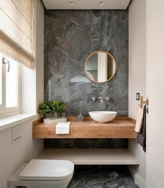 Guest toilet ideas - these tips will make the small room perfect! - # guest toilet with accent wall in - Guest Toilet, Downstairs Toilet, Modern Bathroom, Small Bathroom, Bathroom Ideas, Wc Decoration, Bathroom Interior Design, Bedroom Lighting, Amazing Bathrooms