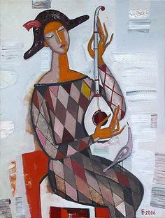 Playing the Domra figurative art - oil painting tatyana gorshunova - PInterest