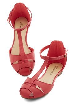 Mellow Mantra Sandal. The focus of todays fashion is effortless charm, and its impeccably encapsulated in these enjoyable red sandals! #red #modcloth