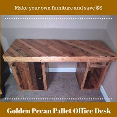 Golden Pecan-stained Pallet Office Desk