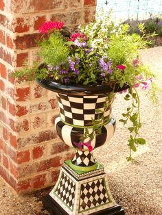 """Patio Urn """"Lile'"""" from Grandin' Road filled with my favorite colors"""