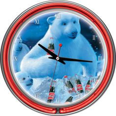 Everyone loves the Coca-Cola polar bears and cubs. This Coca-Cola Polar Bears with Coke Bottle and Cubs Neon Clock brings the unique style. Neon Clock, Retro Clock, Neon Run, Coca Cola Polar Bear, Pool Accessories, Clock Decor, Polar Bears, High Gloss, Double Ring