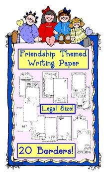 This bundle has 20 pages of fantastic friendship themed borders with writing lines on LEGAL SIZE PAPER for maximum writing space!  I've also included all of the borders without writing lines for you to use for parent notes, word puzzles and anything else you can think of.  All borders are black & white. Designs include, Bear Buddies, Raggety Ann and Andy, Boy and His Dog, Merry Mice Friends and MORE! K, 1, 2, 3, 4, 5, 6 Homeschool $ For all of my integrated art lessons, follow me at…