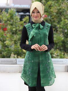 Chiffon Detailed Tunic - Green - Iz Otantik