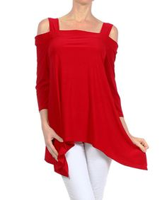 Red Cutout Sidetail Tunic by Karen T. Design #zulily #zulilyfinds