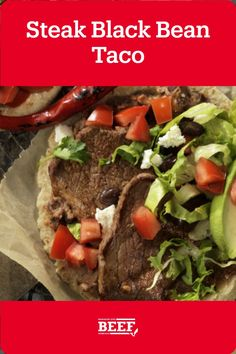 This steak taco recipe gets extra flavor from a black bean and salsa paste and fresh toppings. Easy Campfire Meals, Campfire Recipes, Campfire Food, Steak Tacos, Beef Steak, Black Bean Tacos, Round Steak, Taco Recipe, Soft Tacos