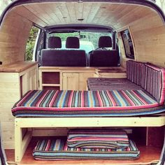 Camper Van Bed Designs for your next Van Build (Text and pictures were copied here from Volkszone technical forum with JBlackmore's. Camper Van Interior Surf More VW California SE I want my van build to be simple and practical like this. This websi. Campervan Bed, Campervan Interior, Toyota Hiace Campervan, Murphy Bed Ikea, Murphy Bed Plans, Equipement Camping Car, Mini Camper, Vw Camper, Transit Camper