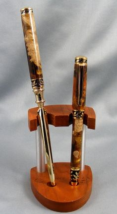Sculpted Pen and Letter Opener with Bamboo Display by pioneerpens, $95.00
