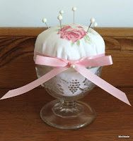 Miriam's Sewing Studio: Up-cycled Pin cushions using antique glass and vintage sheets.