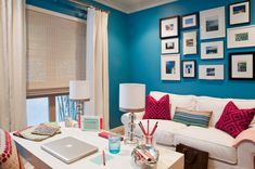 Electric Blue by Benjamin Moore. Love the wall color for a living room.