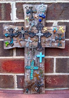 Large Rustic Distressed Wooden Wall Cross of Crosses
