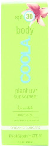 Coola Plant UV Body SPF 30 Sunscreen, Unscented, 3 Ounce