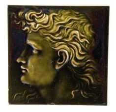 Original late 19th century antique american dark olive green majolica fireplace mantle surround portrait tile. salvaged from a chicago graystone built around 1895. the unique portrait tile features a deeply embossed, well-designed human profile with flowing hair presented in lighter tones. | eBay!