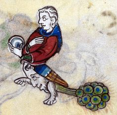 Peacock man, 'The Maastricht Hours', Liège 14th century (British Library, Stowe 17, fol. 251r)