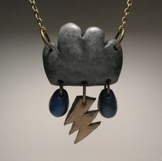Storm Cloud Necklace - OOAK, Polymer Clay Jewelry, $30.0