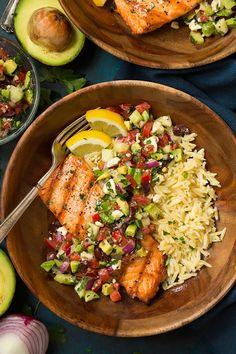 Grilled Salmon with Avocado Greek Salsa and OrzoReally nice  Mein Blog: Alles rund um Genuss & Geschmack  Kochen Backen Braten Vorspeisen Mains & Desserts!