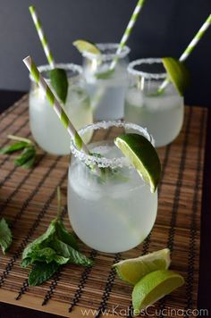 Sparkling Vietnamese Limeade:2 tablespoons granulated sugar 1/2 cup very hot water 1 handful of fresh mint 8 limes Sea salt or kosher salt Sparkling water