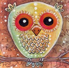 ACEO Painting Mixed Media Sweet  Owl by ODDimagination on Etsy, $12.00