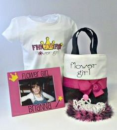 Adorable!  Can you imagine how special a Flower Girl would feel with this adorable T-Shirt with matching tote bag, frame and crown? All for only $39.95