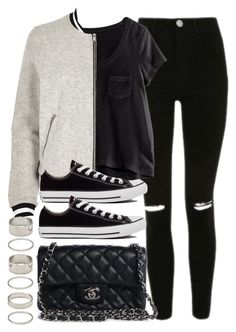 """Sin título #11792"" by vany-alvarado ❤ liked on Polyvore featuring Topshop, H&M, River Island, Chanel, Converse and Forever 21"