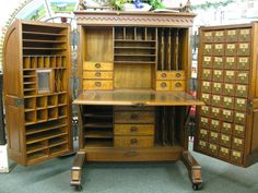 dream piece of furniture with lots of little cubbies. by solitaire .Great for the sewing room also. Bead Storage, Craft Room Storage, Room Organization, Drawer Storage, Craft Rooms, Storage Shelves, Antique Desk, Antique Furniture, Cool Furniture