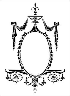 Cartouche No 3 stencil from The Stencil Library REGENCY AND EMPIRE range. Buy stencils online. Stencil code ER34.