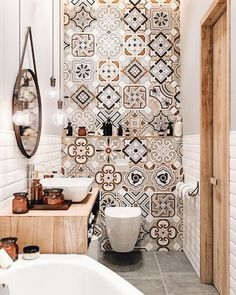 Small Master Bathroom Decor on a Budget www. Small Master Bathroom Decor on a Budget www.onechitecture… Small Master Bathroom Decor on a Budget www. Diy Bathroom Decor, Bathroom Colors, Bathroom Interior, Colorful Bathroom, Mosaic Bathroom, Morrocan Tiles Bathroom, Design Bathroom, Bathroom Remodeling, Budget Bathroom