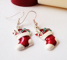 Christmas Santa Boot Earrings  Silver Handmade by BijiJewelry