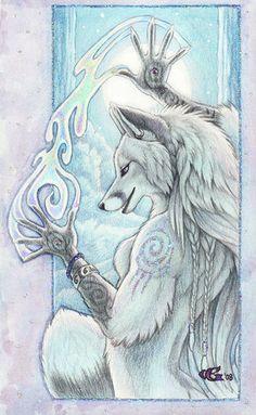 My Opal White Fae Fox archetype  -  Art by Goldenwolf - http://www.goldenwolfen.com