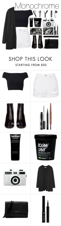 """""""Monochrome Style"""" by essentiallyessence ❤ liked on Polyvore featuring Michael Kors, Topshop, Acne Studios, MAC Cosmetics, Givenchy, Holga and Giorgio Armani"""