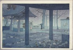 Kasamatsu Shiro: Yushima Tenjin Shrine in Spring Rain — 春雨 湯島天神