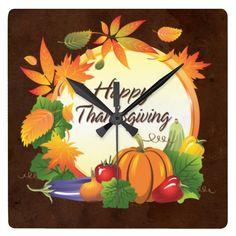Happy Thanksgiving 5A1 Wall Clocks Options