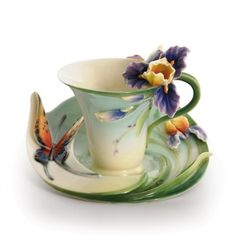 Franz Porcelain, Question Mark Butterfly Cup and Saucer Set.